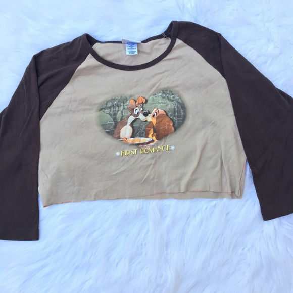 Vintage Tops - Vintage 90s lady and the tramp cropped tee